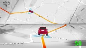 Animação do carro do transporte que viaja ao destino por GPS satélite no mapa gráfico do movimento no computador app da língua ta ilustração royalty free