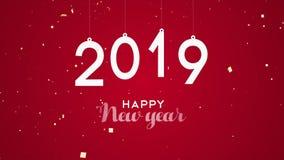 Animação 2019 do cartão dos confetes do partido do ano novo video estoque