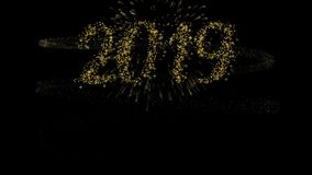 Animação 2019 do cartão do fogo de artifício do ouro do ano novo feliz ilustração do vetor