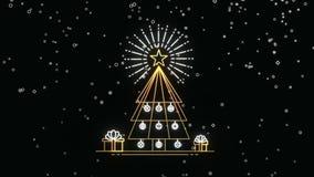 Animação do cartão do pinheiro do esboço do Natal do ouro filme