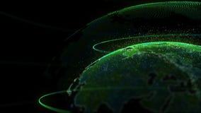 Animação do conceito 3d da rede global da terra de Digitas ilustração stock