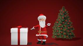 Animação 2019 do Feliz Natal e do ano novo feliz Santa Claus com um presente do Natal perto da árvore de Natal ilustração royalty free