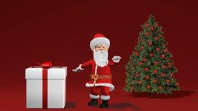 Animação 2019 do Feliz Natal e do ano novo feliz Santa Claus com um presente do Natal perto da árvore de Natal ilustração do vetor