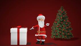 Animação 2019 do Feliz Natal e do ano novo feliz Santa Claus com um presente do Natal perto da árvore de Natal ilustração stock