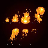 Animação do fogo, chama, explosão Fogo de Sprite para o projeto de jogo ilustração stock