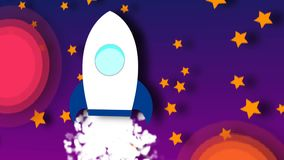 Animação do foguete dos desenhos animados do voo com vista do cosmos Laço sem emenda ilustração stock