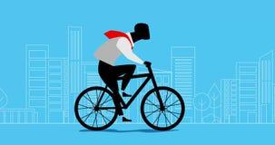 Animação do homem de negócios que dá um ciclo, bicicleta de montada