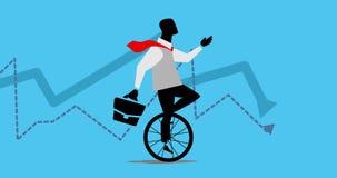 Animação do homem de negócios que dá um ciclo, passeios um unicycle