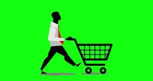 Animação do laço da compra do consumidor do homem de negócios com um trole de compra