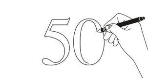 Animação do laço da escrita número 50 da mão