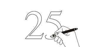 Animação do laço da escrita número 25 da mão