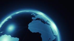 Animação do mapa do mundo com luzes ilustração stock