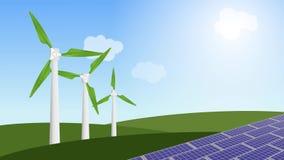 Animação do moinhos de vento e painéis solares para a energia alternativa ilustração do vetor