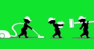 Animação do pessoal de limpeza dos anjos com ferramentas