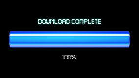 Animação do processo do fazendo download e do carregamento com porcentagem Cor azul HD 1080 ilustração stock