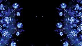 Animação do russo Khokhloma Khokhloma Rússia de flores azuis brilhantes no fundo preto vídeos de arquivo
