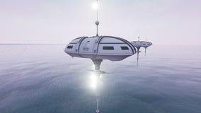 A animação do sci futurista fi posta hoovering acima do oceano 4K ilustração stock