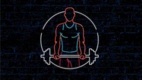 Animação do sinal de Lifting Barbell Neon do atleta 2D vídeos de arquivo