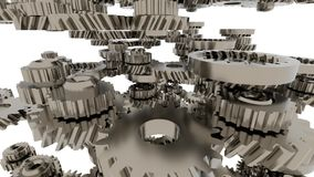 Animação do sistema da engrenagem Projeto do movimento da rotação sem emenda das rodas denteadas do laço ilustração stock