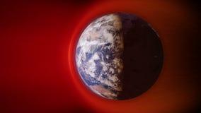 Animação do vento solar que colide com o campo magnético do ` s da terra ilustração do vetor