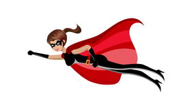 Animação do voo da mulher do super-herói ilustração stock