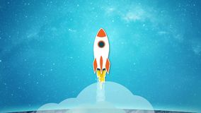 Animação do voo do foguete da superfície da lua às estrelas ilustração stock
