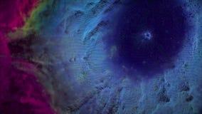 Animação do voo espacial através da nebulosa vermelha e azul Mosca através da nebulosa e das estrelas do espaço video estoque