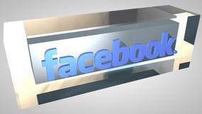 Animação editorial: cubo do logotipo de Facebook da introdução 3D ilustração do vetor