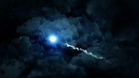 Animação feericamente, fundo do laço, paisagem da fantasia no céu nebuloso, ilustração do vetor