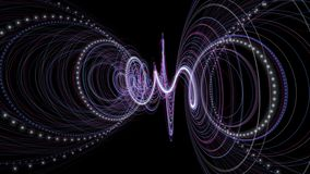Animação futurista com objeto da listra da partícula e luz piscar no movimento lento, 4096x2304 laço 4K vídeos de arquivo