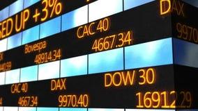 Animação gerada por computador do texto do desdobramento que corre no relógio do mercado de valores de ação ilustração do vetor