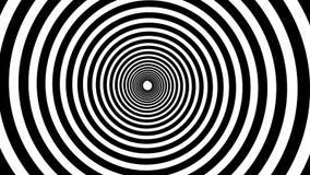 Animação hipnótica espiral Dar laços preto e branco ilustração stock