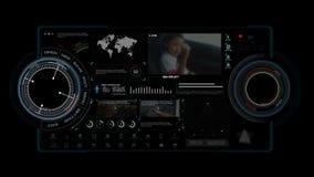 animação 4K da relação ascendente da exposição da cabeça de HUD sobre com elemento da barra de carga do gráfico do ícone para o c vídeos de arquivo