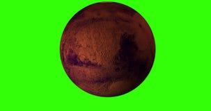 animação 4K do planeta de Marte com um fundo verde do croma ilustração stock