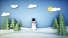 Animação lisa de papel do boneco de neve Ano novo feliz e fundo do xmas snowfall Animação 4K realística ilustração do vetor