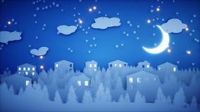 Animação lisa de papel do inverno Ano novo feliz e fundo do xmas snowfall Animação 4K realística ilustração stock