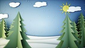 Animação lisa de papel do inverno Ano novo feliz e fundo do xmas snowfall Animação 4K realística ilustração do vetor