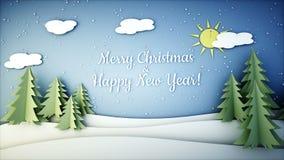 Animação lisa do papel do ano novo Ano novo feliz e fundo do xmas snowfall Animação 4K realística ilustração stock