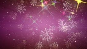 Animação maravilhosa do Natal com estrelas e flocos de neve, laço HD 1080p