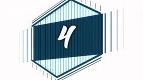 Animação morphing lisa dos gráficos do movimento para o vídeo de abertura Animação do número quatro ilustração royalty free
