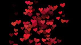 Animação para o dia do ` s do Valentim corações que voam através da tela video estoque