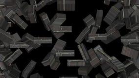 A animação, parede de tijolo quebra-se em partes, canal alfa ilustração stock