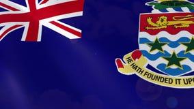 Animação realística da bandeira de Cayman Islands ilustração stock
