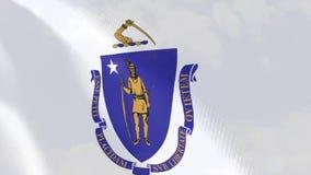 Animação realística da bandeira de Massachusetts ilustração stock