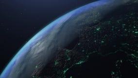 Animação realística da rotação da terra 3D do planeta ilustração royalty free