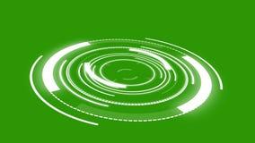 Animação redonda abstrata de uma ficção científica futurista HUD Tela verde ilustração stock