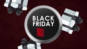 Animação redonda preta do emblema HD de sexta-feira ilustração do vetor