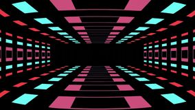 Animação sem emenda do laço do voo infinito retro do túnel do estilo do jogo com texto do começo da imprensa - vintage novo da qu ilustração stock