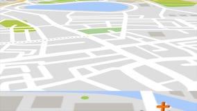 Animação sem emenda do mapa satélite da cidade dos gps e do lugar urbano do marco com construções 3d e bakground dos bens imobili