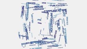 Animação social da tipografia do texto da nuvem da palavra do conceito de uma comunicação do Internet dos meios Fotos de Stock